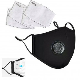 Reusable Cotton Face Mask with Filters Built in Breathing Valve Washable